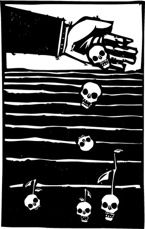Woodcut style expressionist image of a bankers hand sowing the seeds of death in a field.