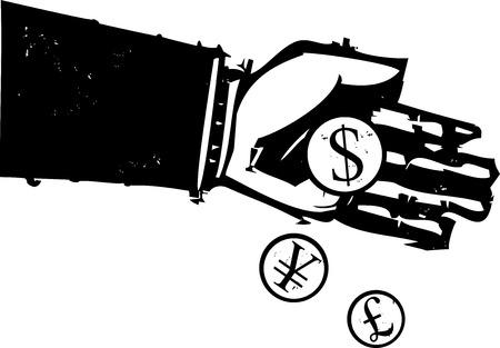 木版画スタイル表現主義イメージ、銀行家の手を注ぐコイン。  イラスト・ベクター素材