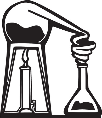 Woodcut style image of an alchemist's alembic.