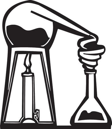 Image de style de gravure sur bois de l'alambic d'alchimiste. Banque d'images - 29124220