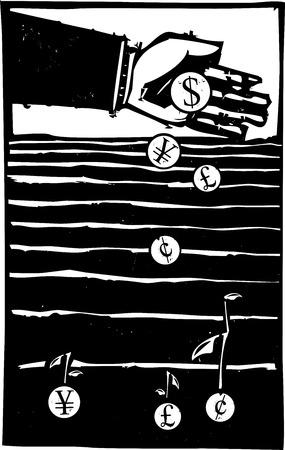 돈을 성장하는 분야에서 은행의 손을 심기 동전의 목 판화 스타일의 표현주의 이미지.