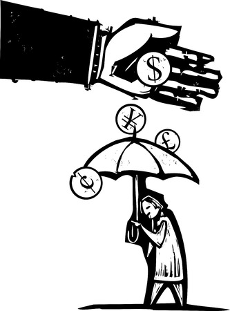 expressionist: Woodcut style expressionist image of a bankers hand pouring money on a person with an umbrella.