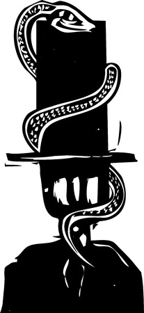 Woodcut style expressionist image of a snake wrapping around a bankers tall hat.