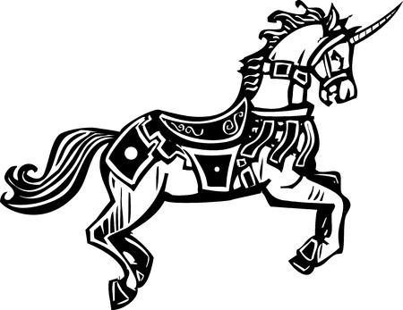 livery: Woodcut style image of a unicorn in a bridal and fancy livery. Illustration