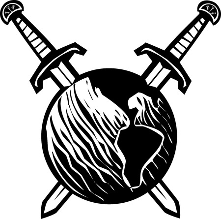 Woodcut style image of the earth impaled with two crossed swords. Vettoriali