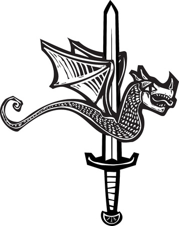 Woodcut style image of a dragon spitted on a sword. Illustration
