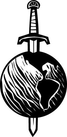 fascism: Woodcut image of a sword impaling the earth. Illustration