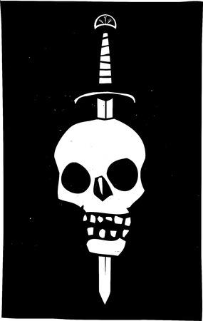 stabbed: Imagen de estilo de grabado de una calavera humana ensartada en una espada sobre un fondo negro.