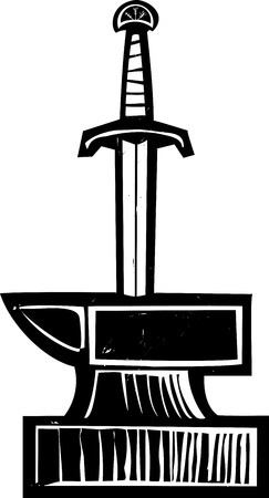 Woodcut image of King Arthurs Sword in the Stone Excalibur Illustration