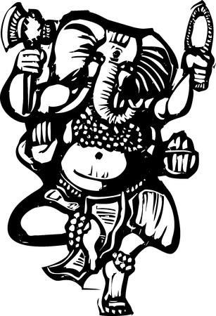 golden religious symbols: Woodcut style image of the Hindu God Ganesha
