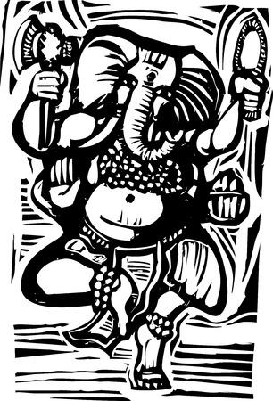 Woodcut style image of the Hindu God Ganesha Vector