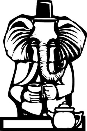 木版画のスタイルは、像、お茶を飲んで人間の服に象