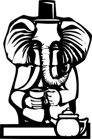 Woodcut style image of a an elephant in human clothes having tea