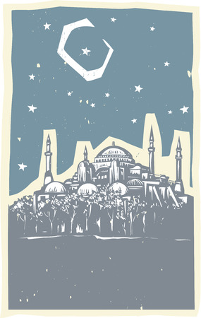 minuet: Woodcut style image of the Greek Orthodox church turned Mosque in Istanbul Turkey.