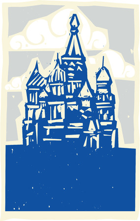 red square moscow: Woodcut style Soviet Design type illustration of the Kremlin in Moscow