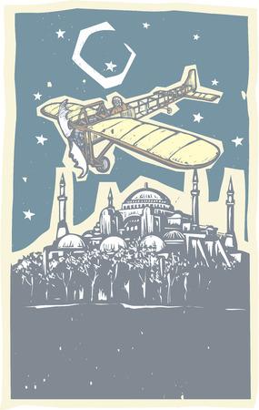 ギリシャ正教教会の木版画のスタイル イメージはヴィンテージ飛行機それ以上とトルコ イスタンブールのモスクを回った。  イラスト・ベクター素材