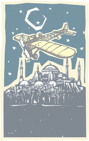 minuet: Woodcut style image of the Greek Orthodox church turned Mosque in Istanbul Turkey with a vintage airplane flying over it.