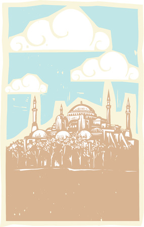 Woodcut style image of the Greek Orthodox church turned Mosque in Istanbul Turkey.