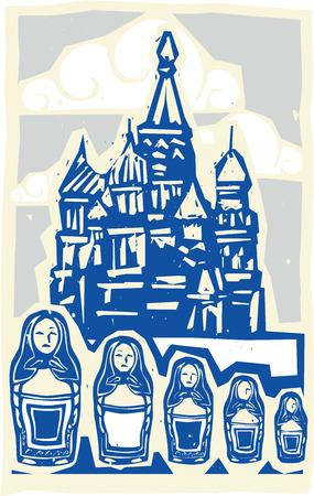 Woodcut style 중첩 된 인형와 모스크바에서 크렘린의 소련 디자인 유형 그림.