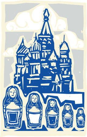 nested: Woodcut style Soviet Design type illustration of the Kremlin in Moscow with nested dolls.