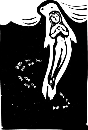 Woodcut style image of the Celtic mythical selkie in the ocean Imagens - 30565692