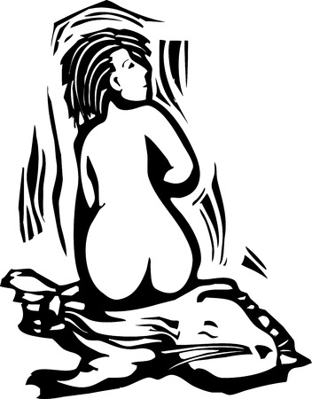 shedding: Woodcut style image of a mythical celtic selkie shedding her seal