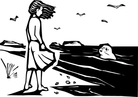 Woodcut style image of a girl on a beach watching a harbor seal in the waves  向量圖像