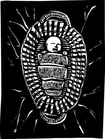 나일 강: 바구니에 떠있는 아기 성경의 선지자 모세의 목 판화 스타일 이미지