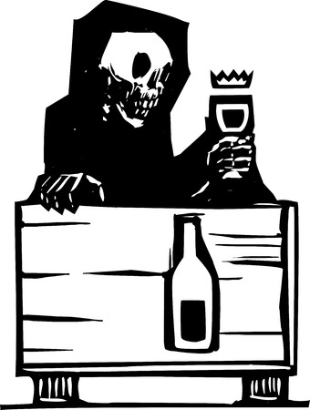 plague: Woodcut style image of the skeleton death sitting at a table drinking a glass of wine
