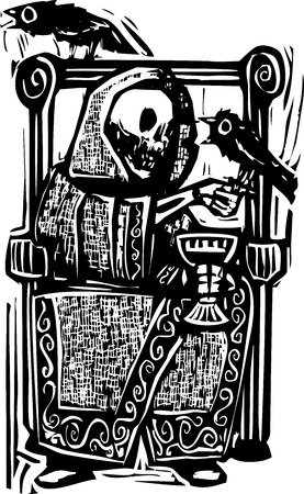 Woodcut style image of the skeleton death drinking wine in a throne with crows or ravens  Illustration