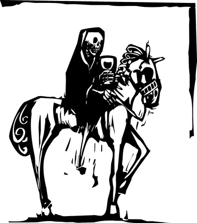 woodcut style image of the skeleton death riding a horse and drinking wine  Vector