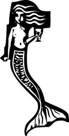 Holzschnitt-Stil Bild einer Meerjungfrau trinken einen Becher Wein Illustration