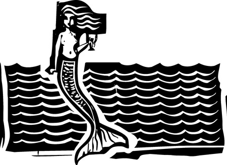 Woodcut style image of a mermaid in the waves