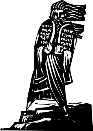 Woodcut style image of the Biblical Moses bringing the ten commandments down from the mountain
