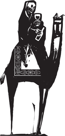 Woodcut style image of death drinking wine and riding a camel
