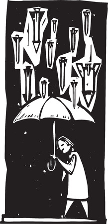 Woodcut style image of missiles raining down from a stormy sky over a person with an umbrella