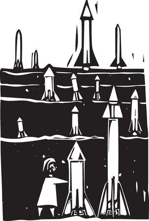 bombing: Imagen de estilo de grabado de campo de misiles que se cultiva o la creaci�n de