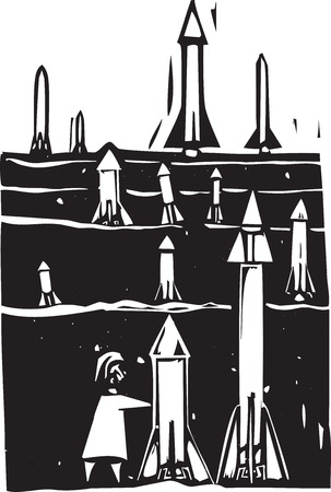 bombing: Woodcut style image of field of missiles being grown or set up