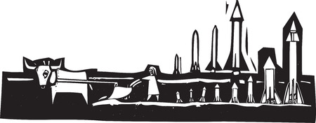 Woodcut style image of missiles being set up in a field