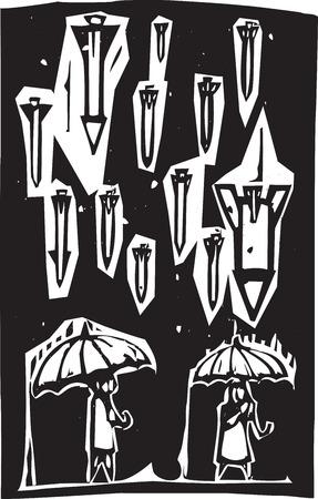 bombing: Afbeelding houtsnede stijl van raketten regent van een stormachtige hemel over mensen met paraplu's
