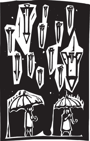 Woodcut style image of missiles raining down from a stormy sky over people with umbrellas