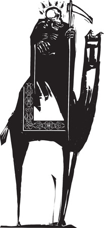 Woodcut style image of death riding a camel  Ilustração