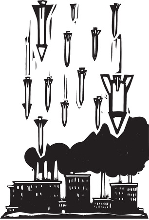intercept: Woodcut style image of missiles falling on a factory Illustration