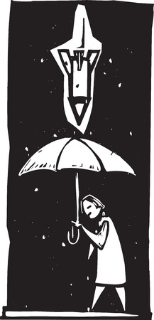 civilians: Woodcut style image of a missile or bomb raining down from a stormy sky over a person with an umbrella