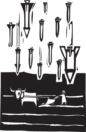 bombing: Woodcut style image of missiles falling on a farm