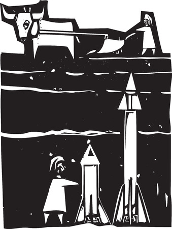 Woodcut style image of missiles being set up beneath a farm field Illustration