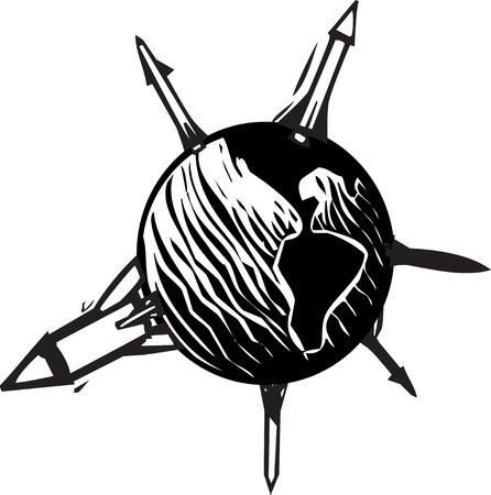 地球の球体から突き出てミサイルの木版画のスタイル イメージ  イラスト・ベクター素材