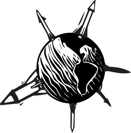 Woodcut style image of missiles sticking out of the globe of the earth  Illusztráció