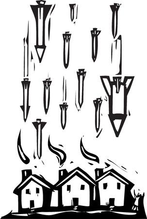 Woodcut style image of missiles falling on houses  Ilustração