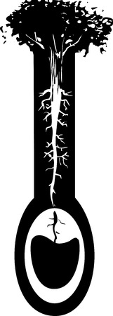 aquifer: Woodcut style image of a tree with roots like nerve endings taking water from an aquifer. Illustration